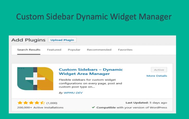 Обзор настраиваемых боковых панелей Плагин Dynamic Widget Area Manager »WebNots