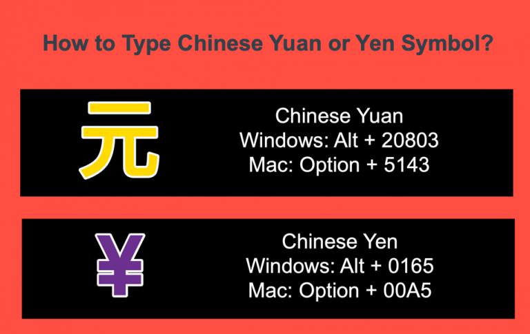 Как набрать китайский юань или символ юаня 元?  »WebNots