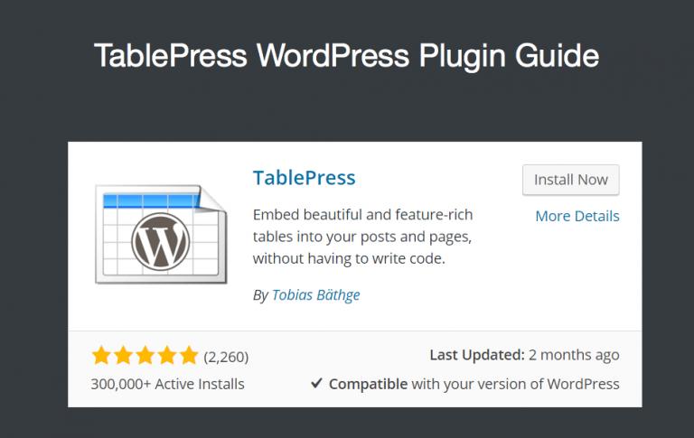 Руководство по плагину TablePress для пользователей WordPress »WebNots