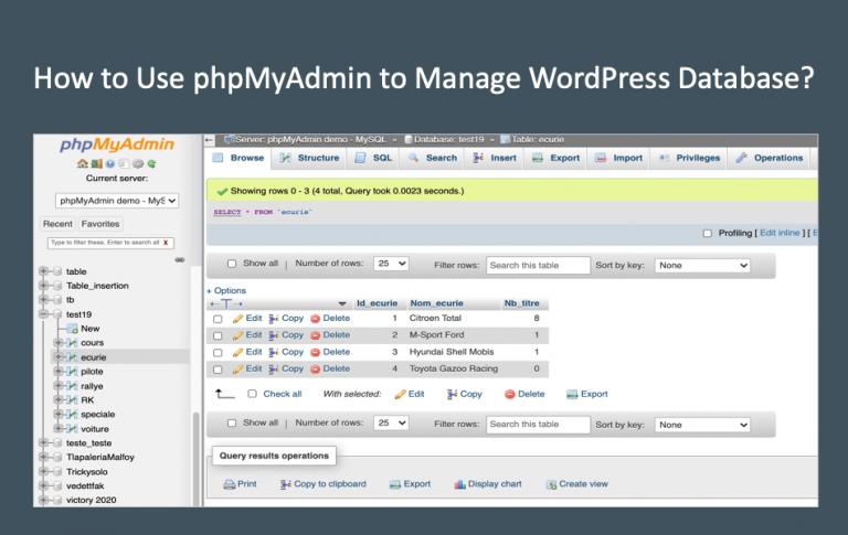 Как использовать phpMyAdmin для управления базой данных WordPress?  »WebNots