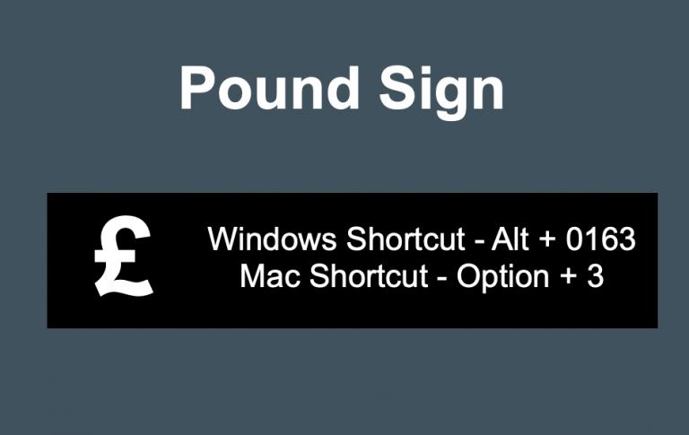 Сочетания клавиш для знака британского фунта »WebNots